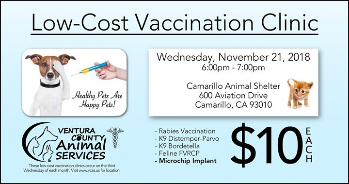 Nov 21 Low Cost Vaccination Clinic VCAS