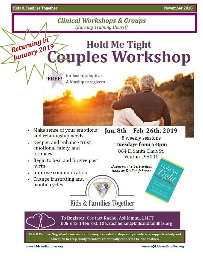 Jan 8 to Feb 26 Hold Me Tight Couples Workshop