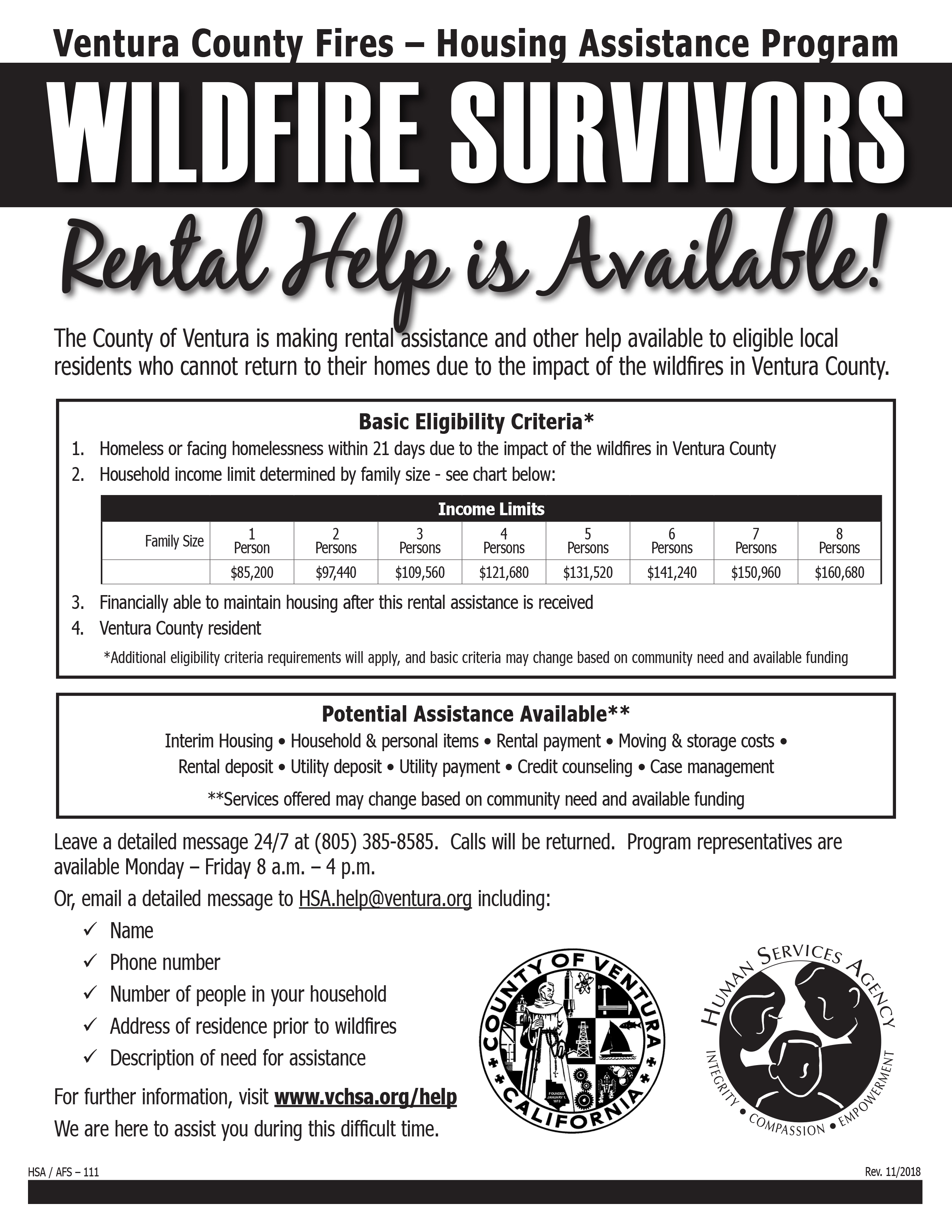 Wildfire Survivors Rental Help Available