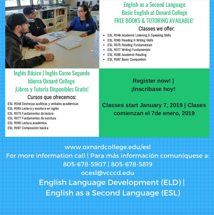 2018 Oxnard College ESL 2 Jan 2019