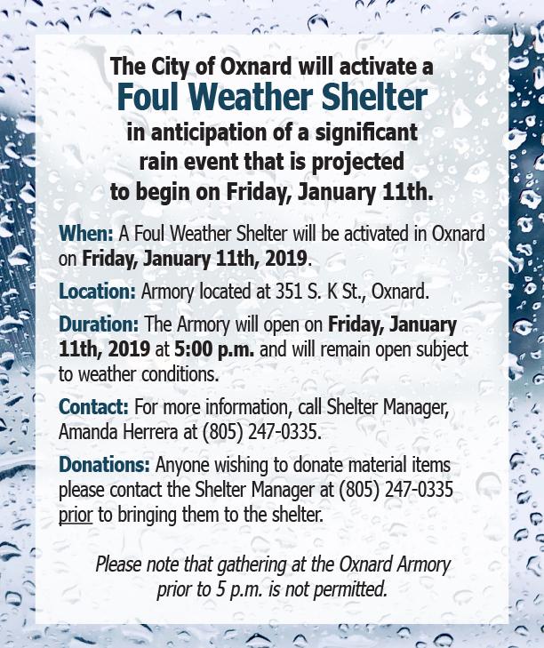 2019 01 11 Foul Weather Shelter Notice