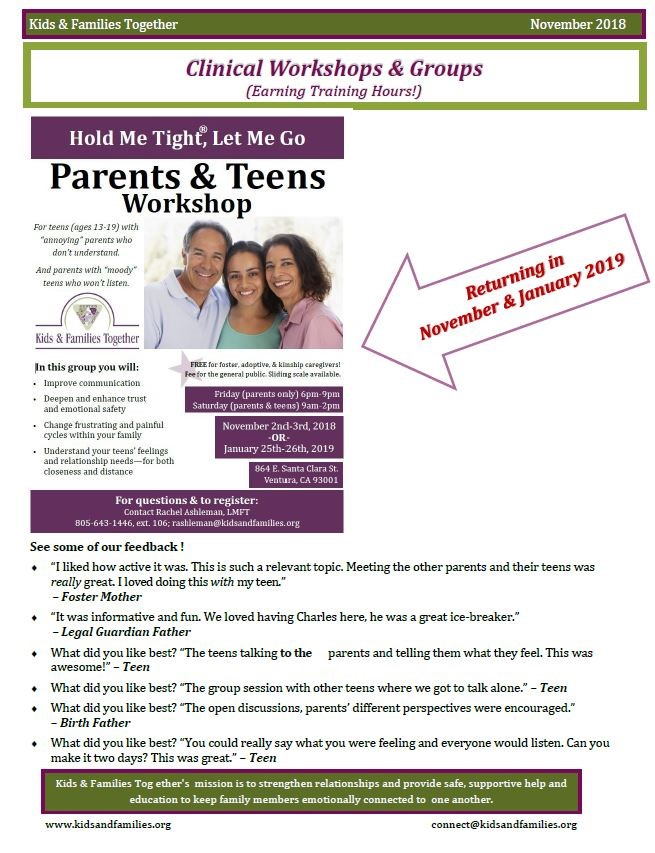 Jan 25 and 26 Parents and Teens Workshop
