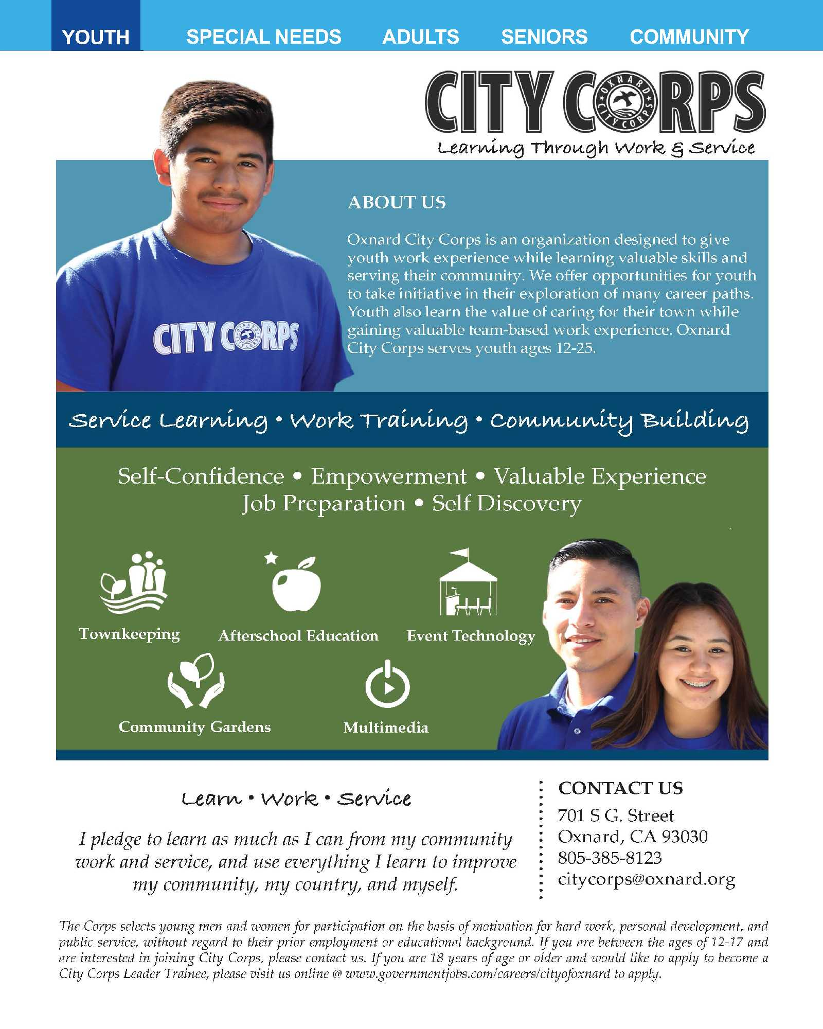 CITY CORPS Learning Through Work and Service