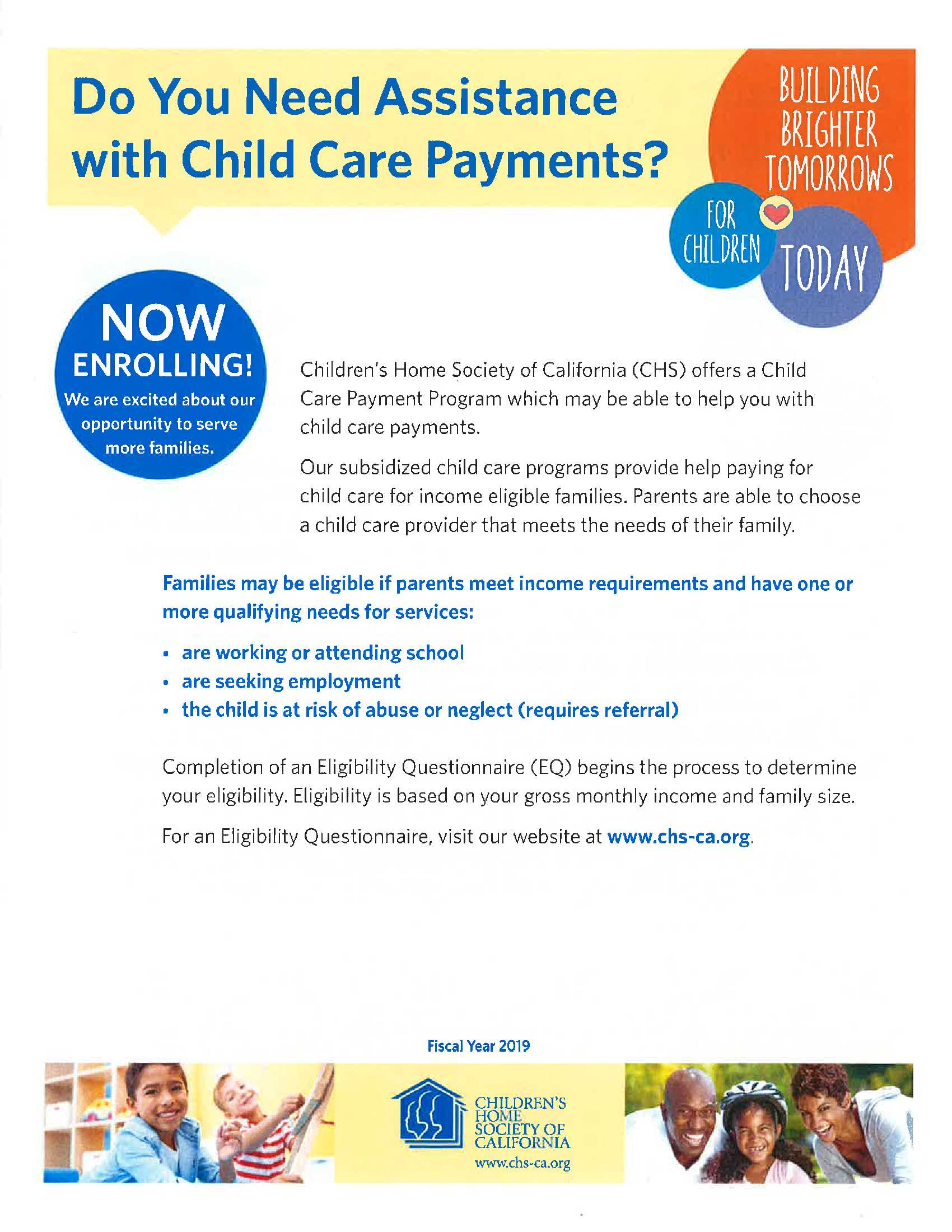 Childrens Home Society Childcare Payment Program