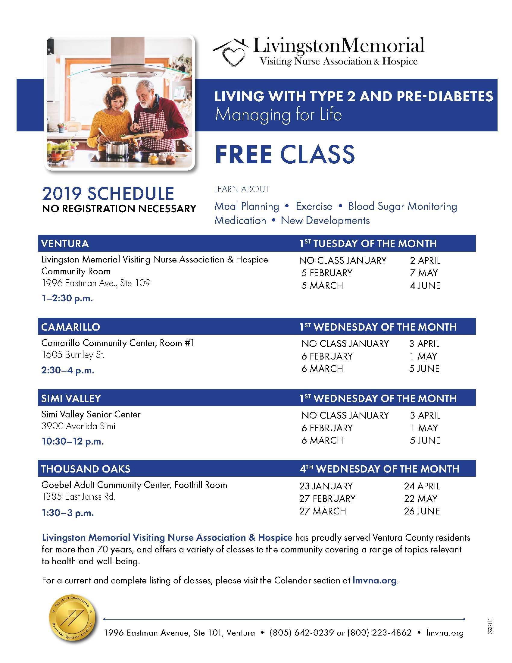 2019 Schedule LMVNA Diabetes Monthly Classes Countywide