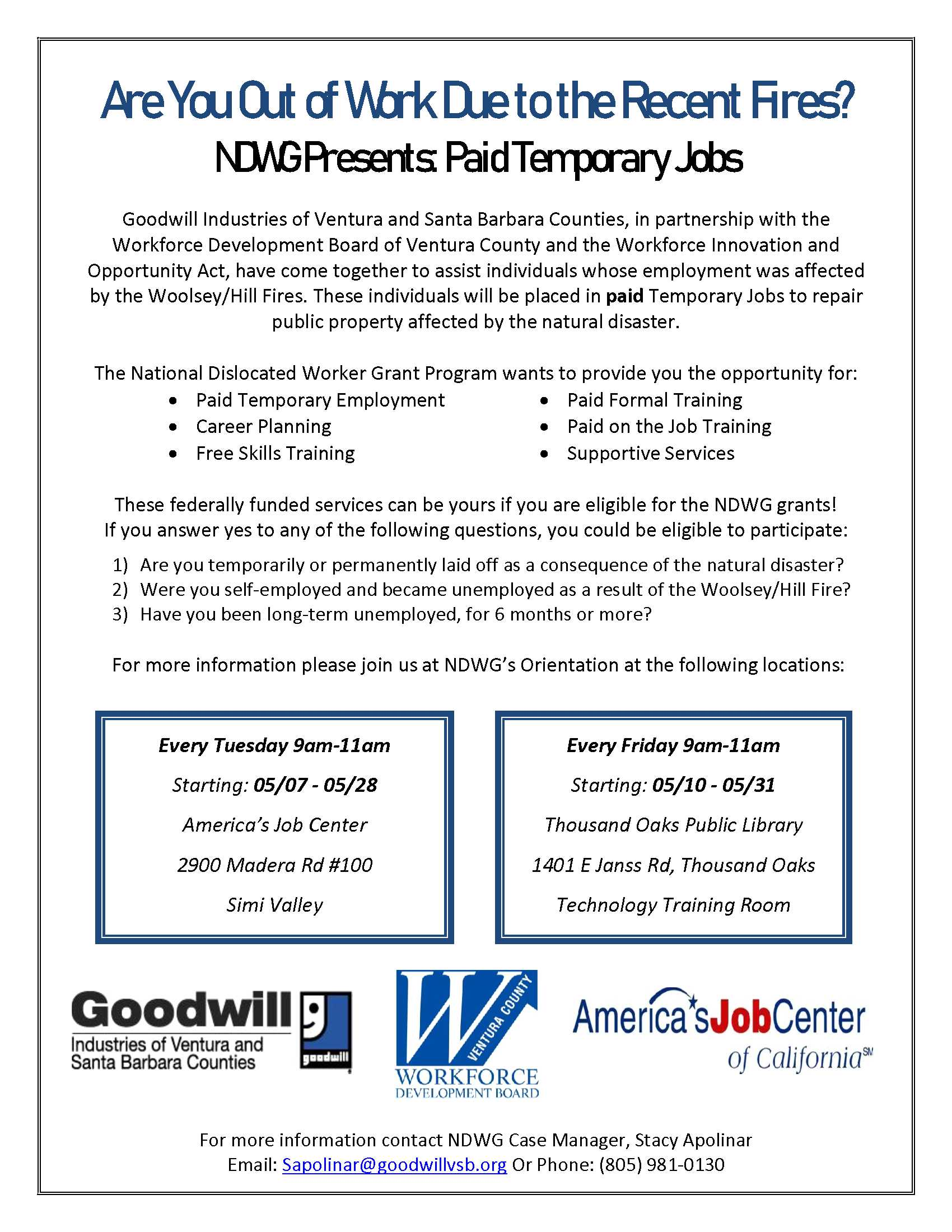 Goodwill NDWG Paid Temporary Jobs for Fire Victims