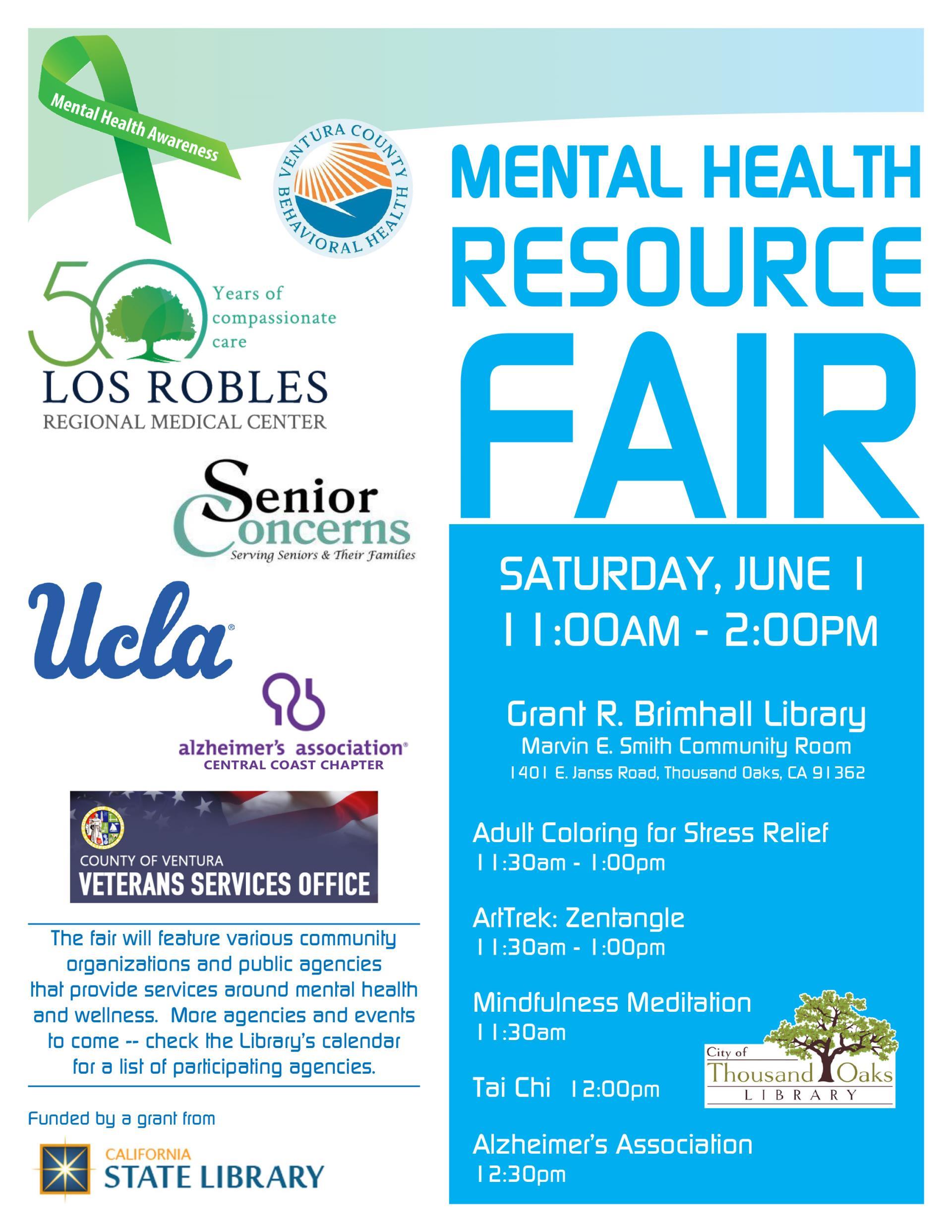 June 1 Mental Health Resource Fair Thousand Oaks