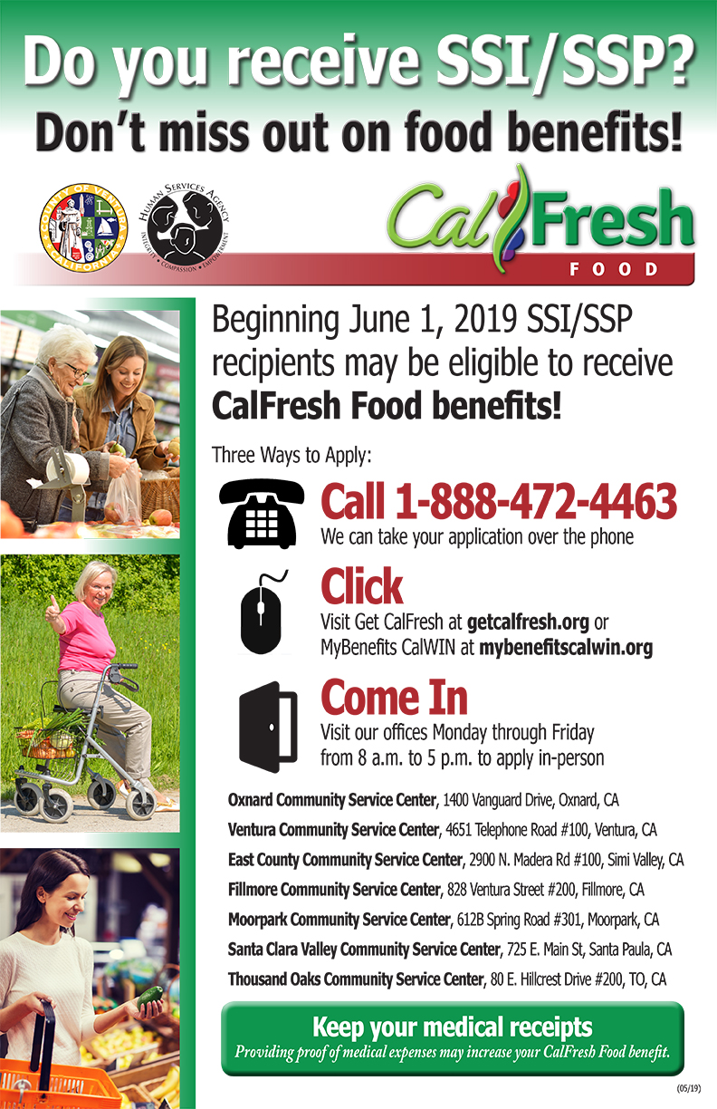 June 1 CalFresh Food benefits Poster