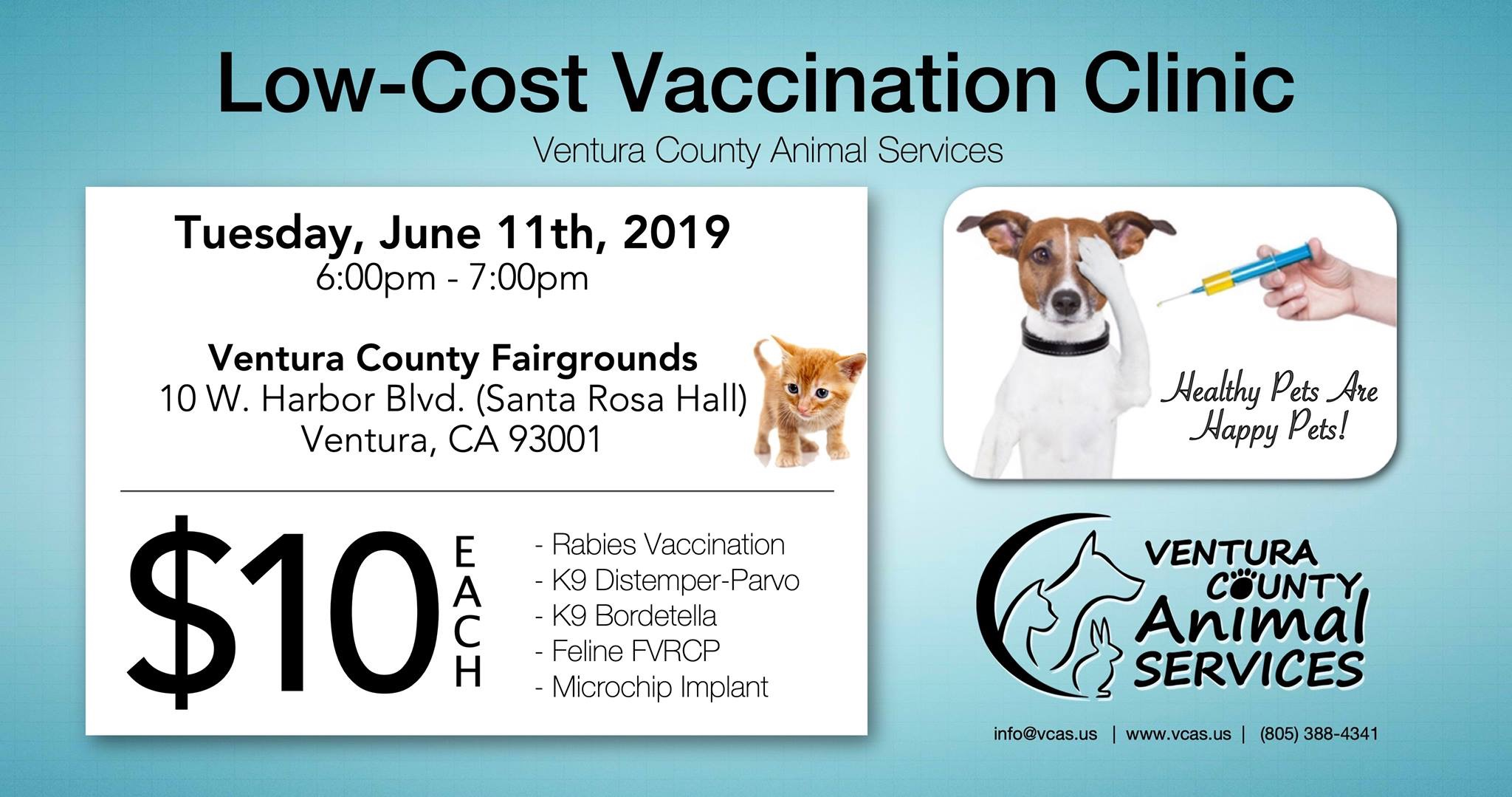 June 11 Low Cost Vaccine Clinic Ventura Fairgrounds