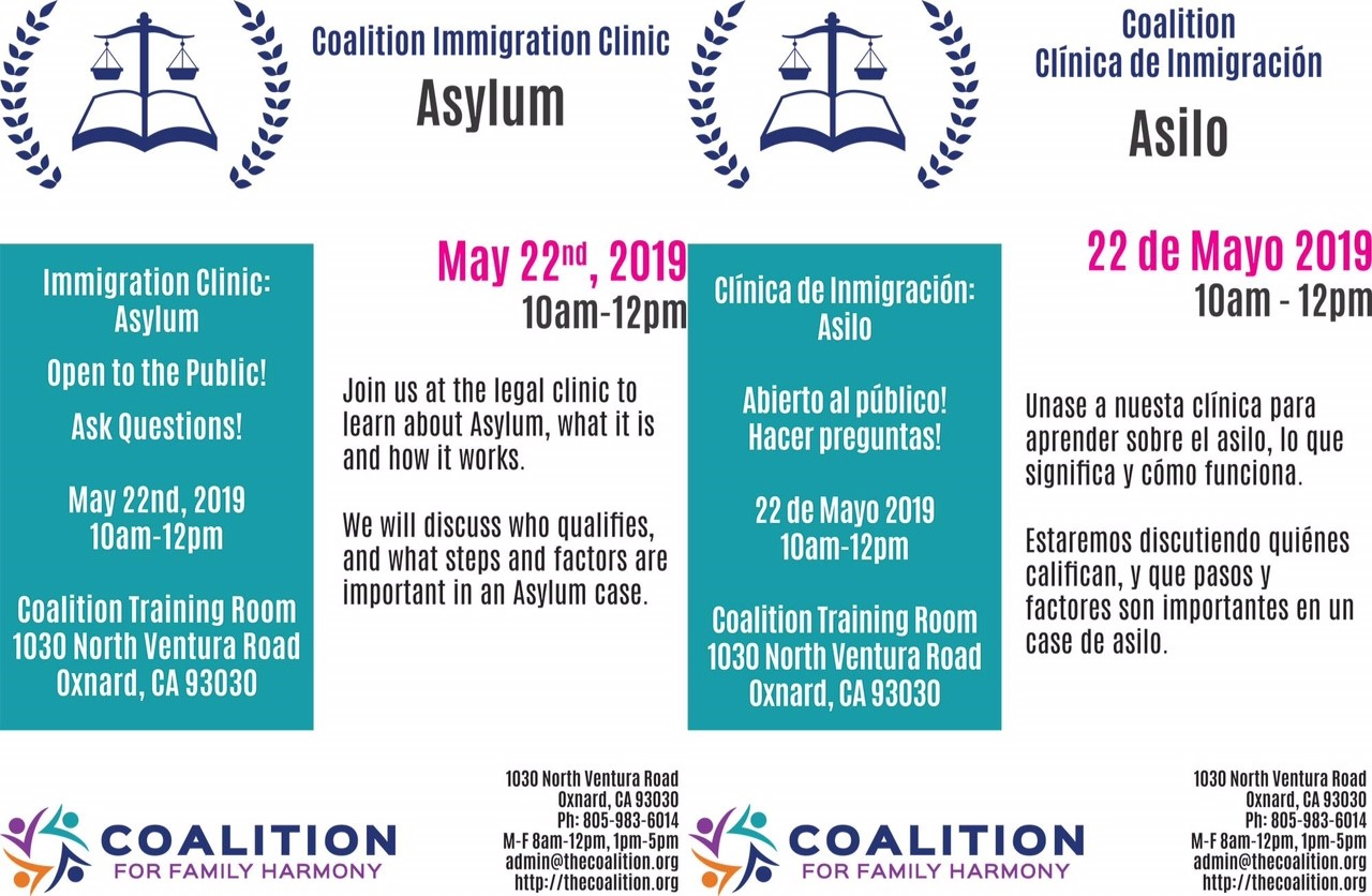 May 22 Coalition Immigration Clinic Asylum