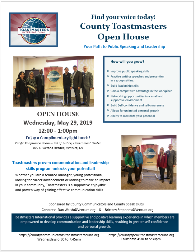 May 29 Toastmasters Open House