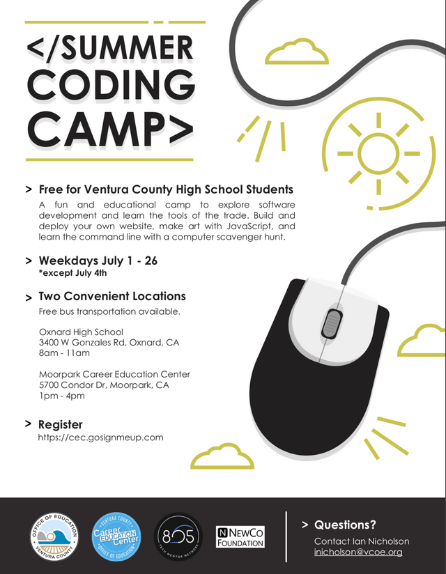 July 1 To 26 Summer Coding Camp