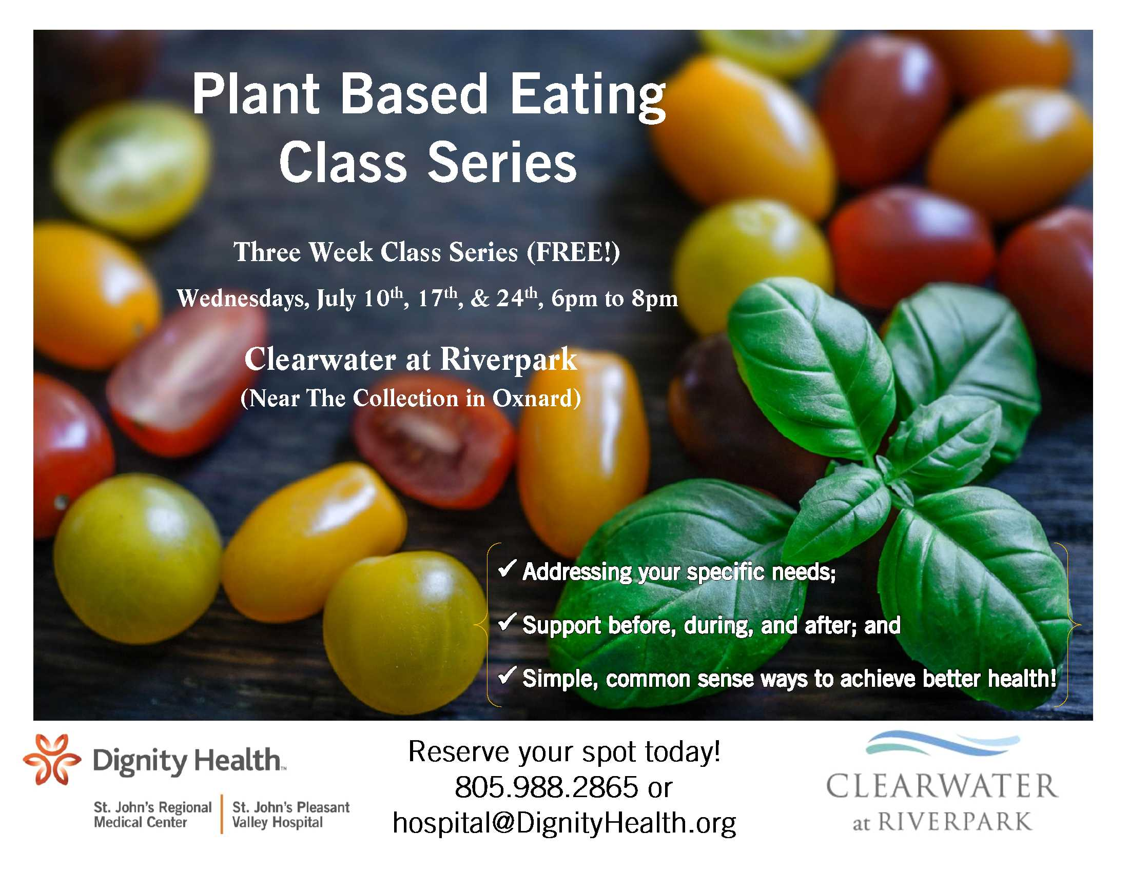 July 10 To 24 Plant Based Class Series Clearwater