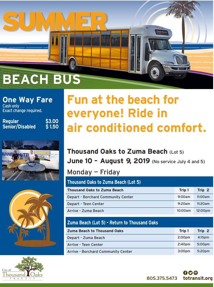 June 10 To Aug 9 Beach Bus Thousand Oaks