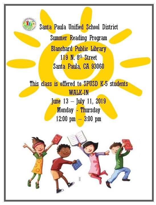 June 13 To July 11 SPUSD Summer Reading Program