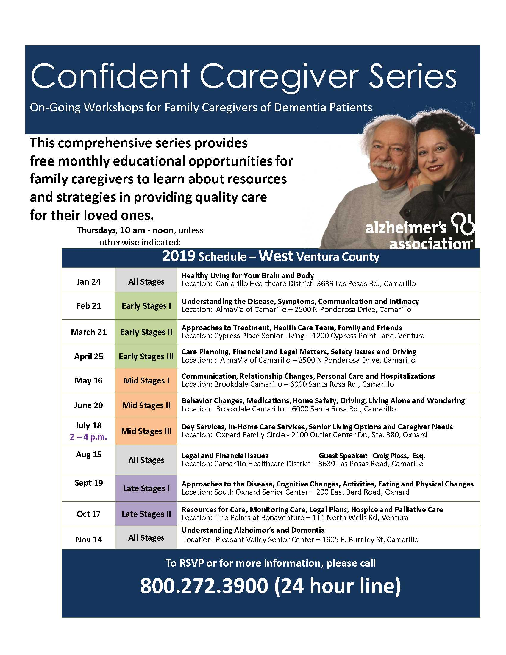 June 20 July 18 August 15 September 19 Confident Caregiver Series