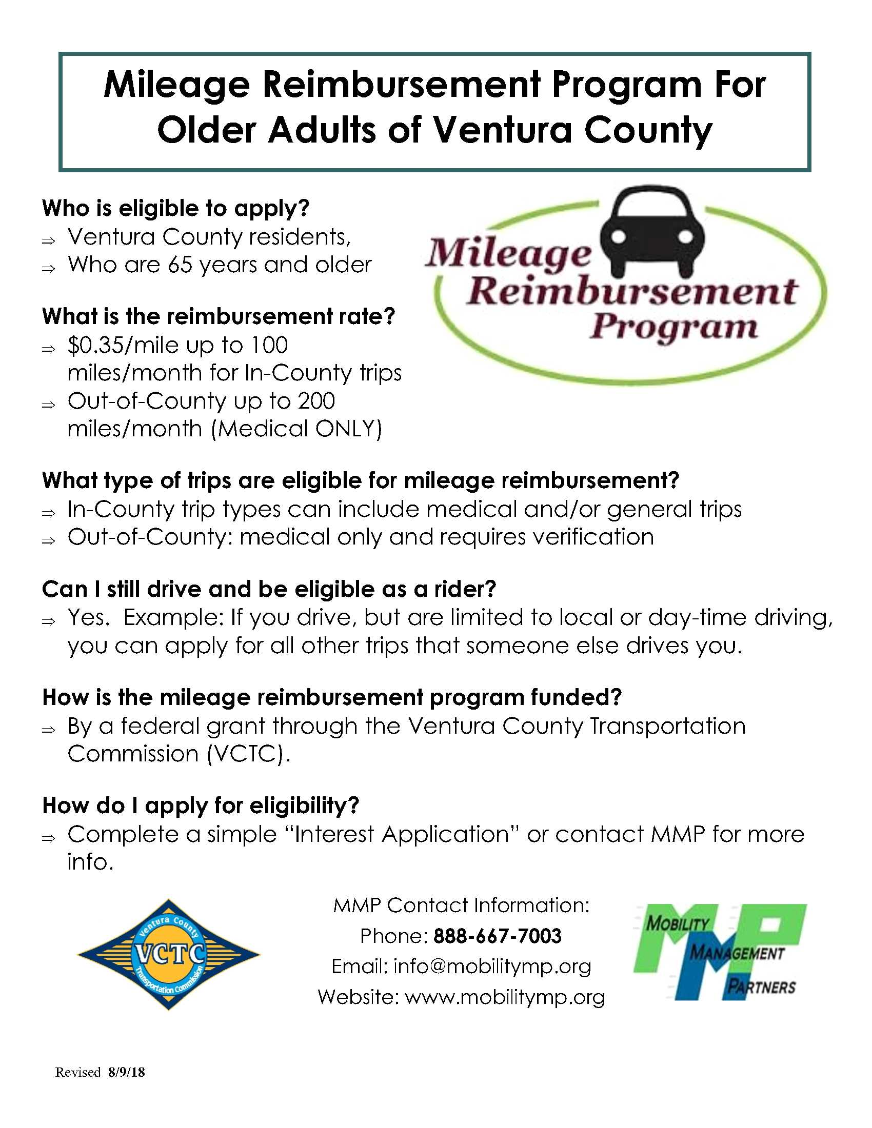 Mileage Reimbursement Program For Older Adults of Ventura County