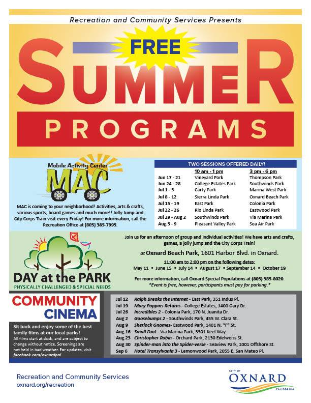 Free Summer Programs Oxnard Recreation and Community Services