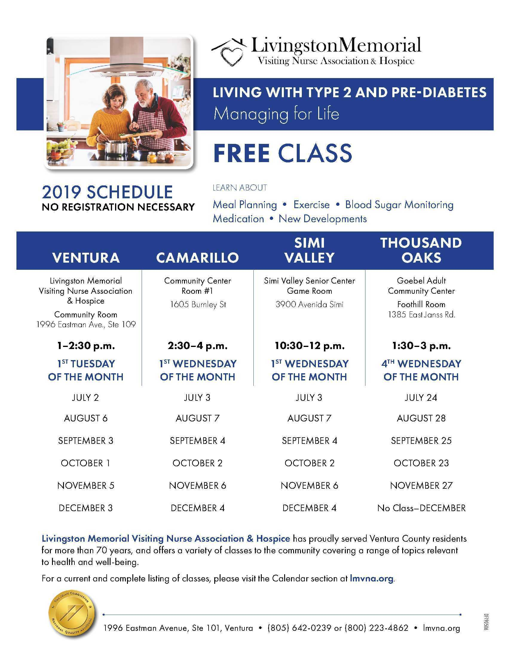 2019 Schedule Living With Type 2 and Pre-Diabetes