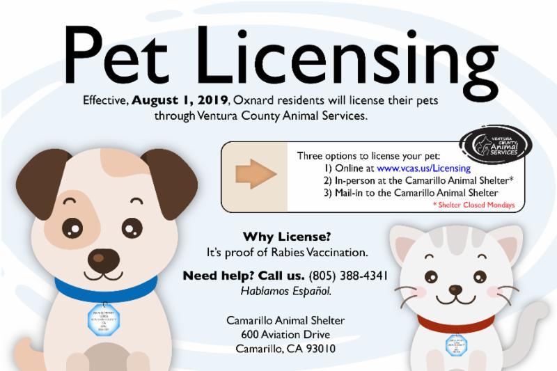 Effective August 1 Oxnard Pet Licensing
