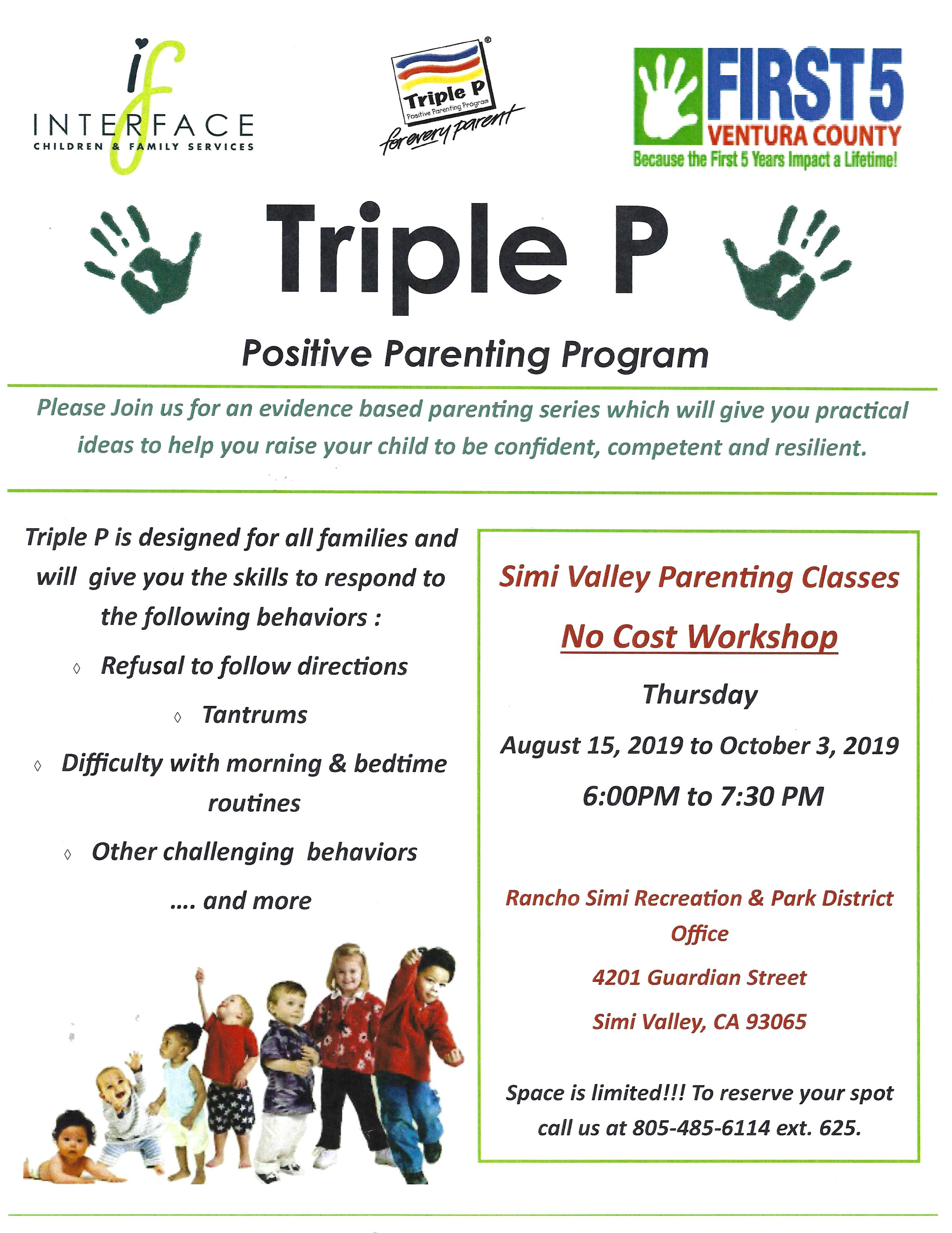 August 15 To Oct 3 Triple P Positive Parenting Program Simi Valley