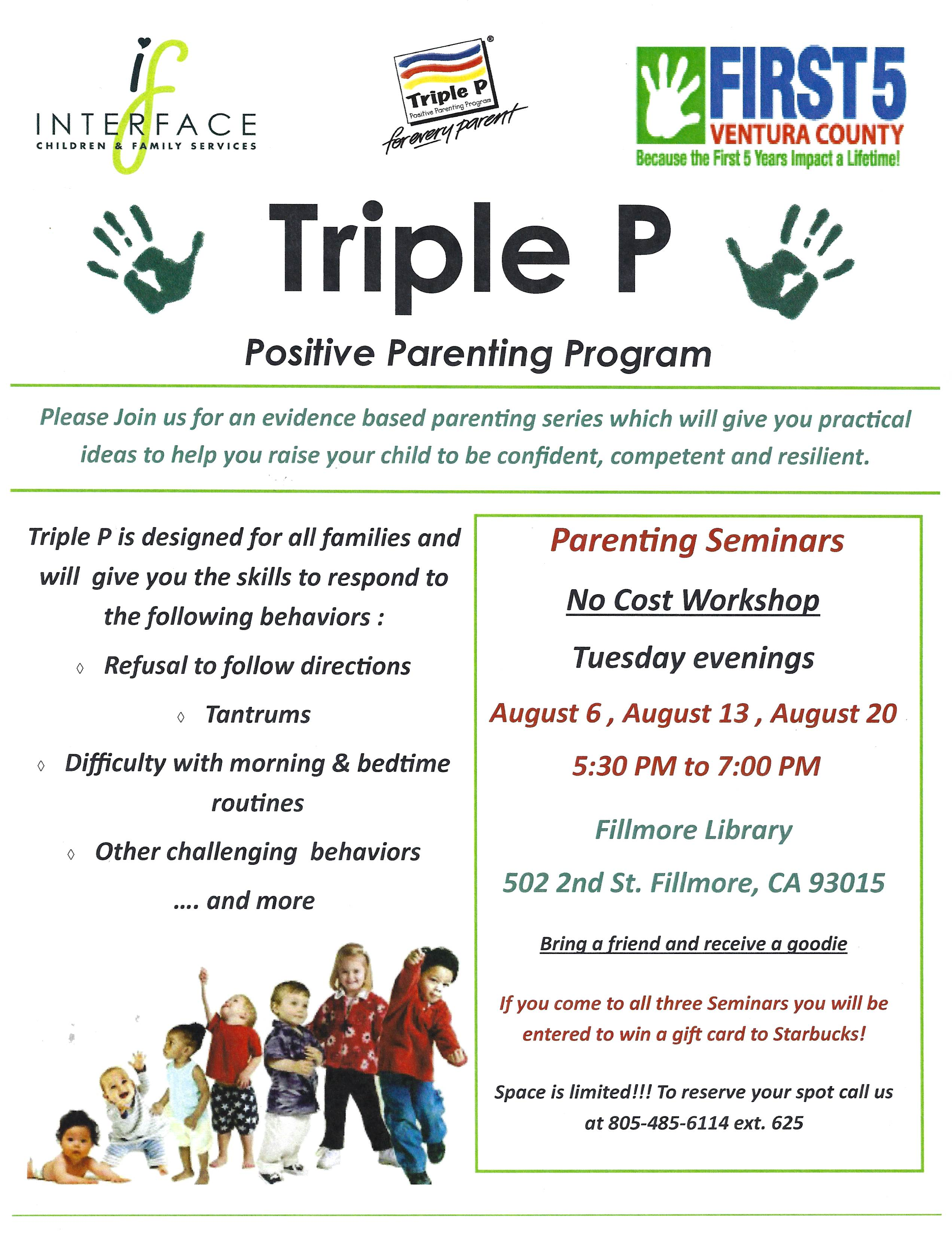 August 6 13 And 20 Triple P Positive Parenting Program Fillmore