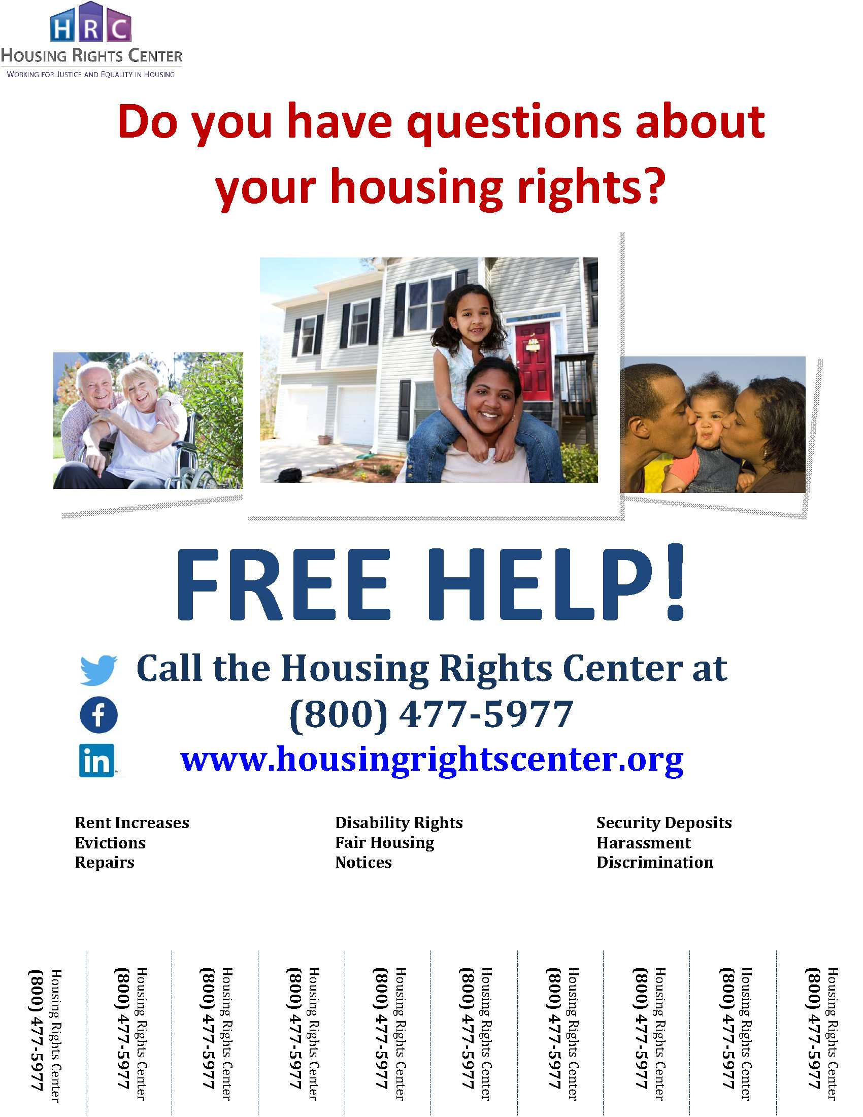 Housing Rights Center Services Flyer With Tear Offs