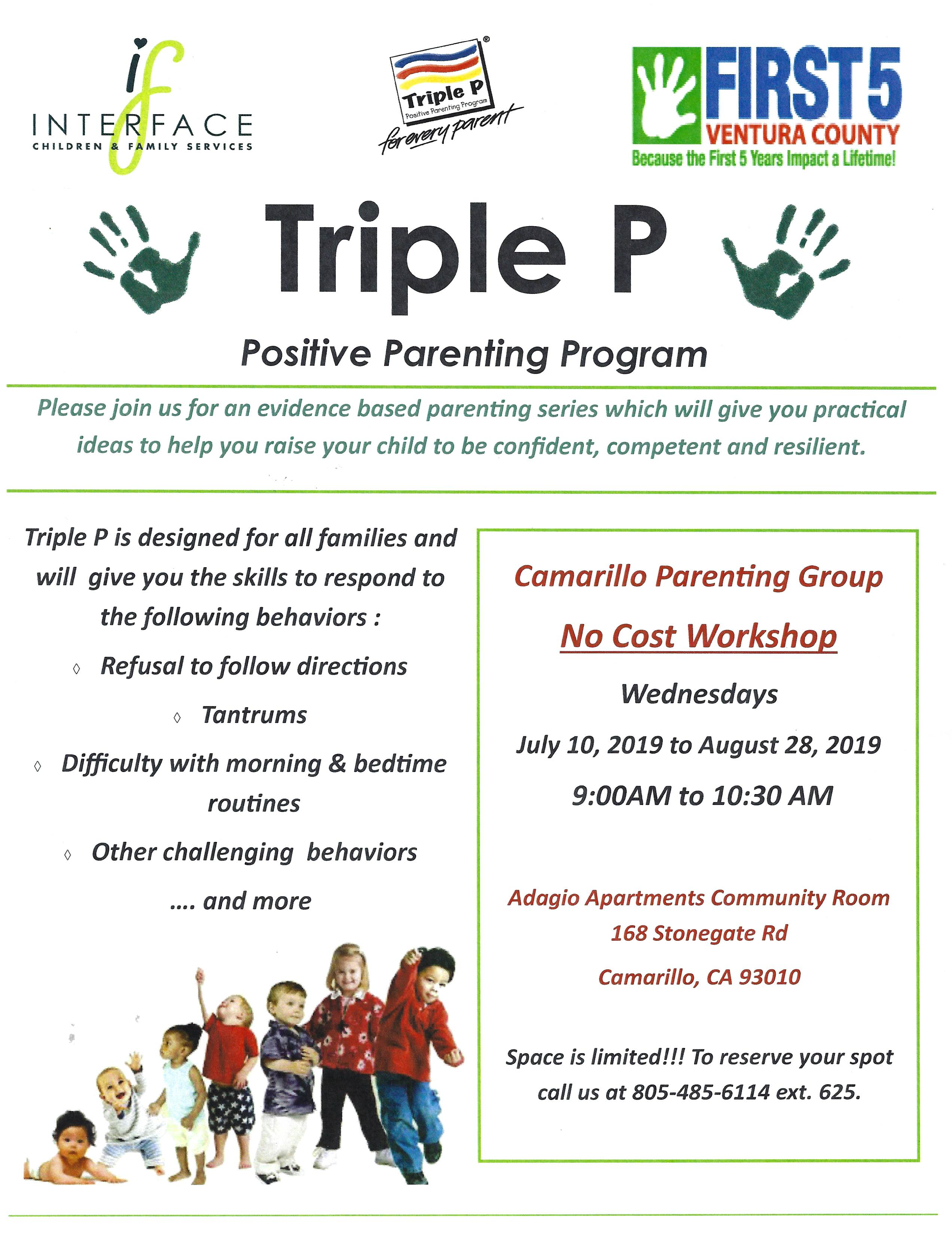 July 10 To August 28 Triple P Positive Parenting Program Camarillo
