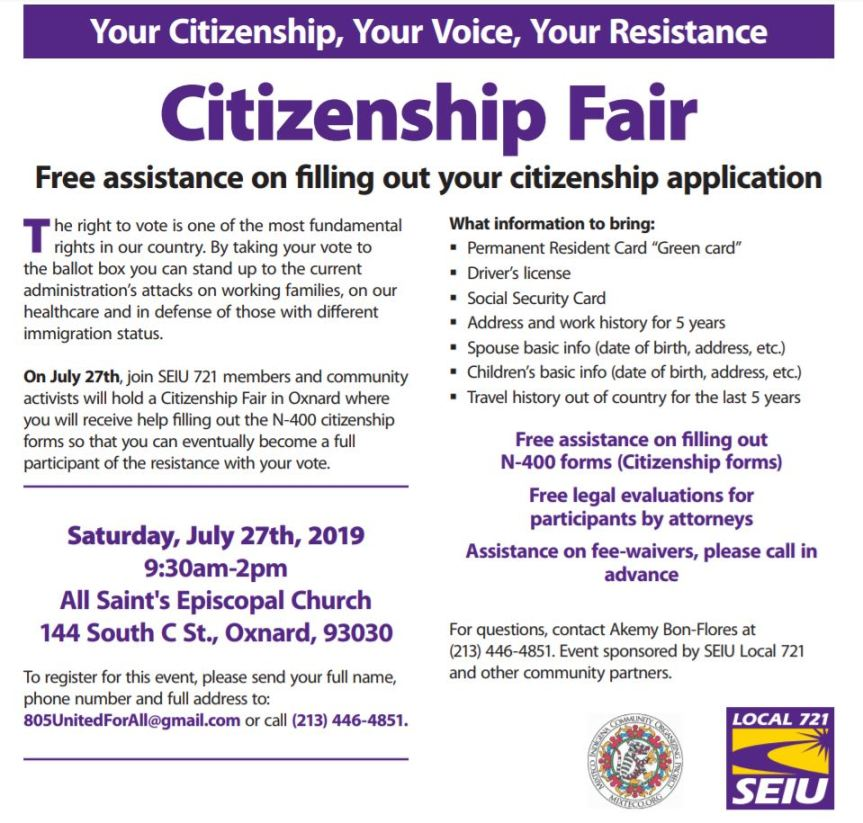 Jul 27 Citizenship Fair SEIU Oxnard