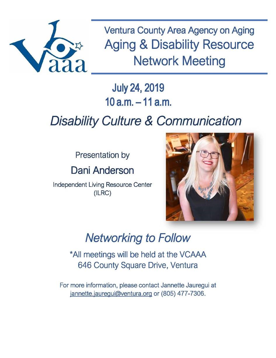 July 24 Aging And Disability Resource Network Meeting