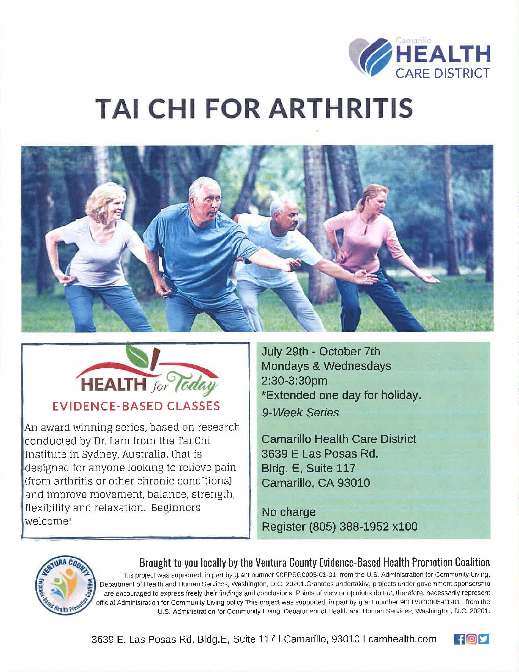 July 29 O October 7 Tai Chi For Arthritis Camarillo Health Care District