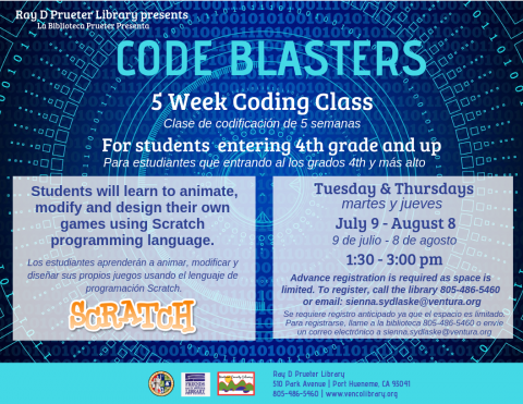 July 9 To August 8 CODE BLASTERS 5 Week Coding Class