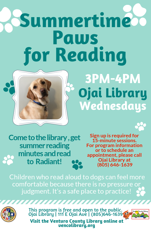 Summertime Paws For Reading Ojai