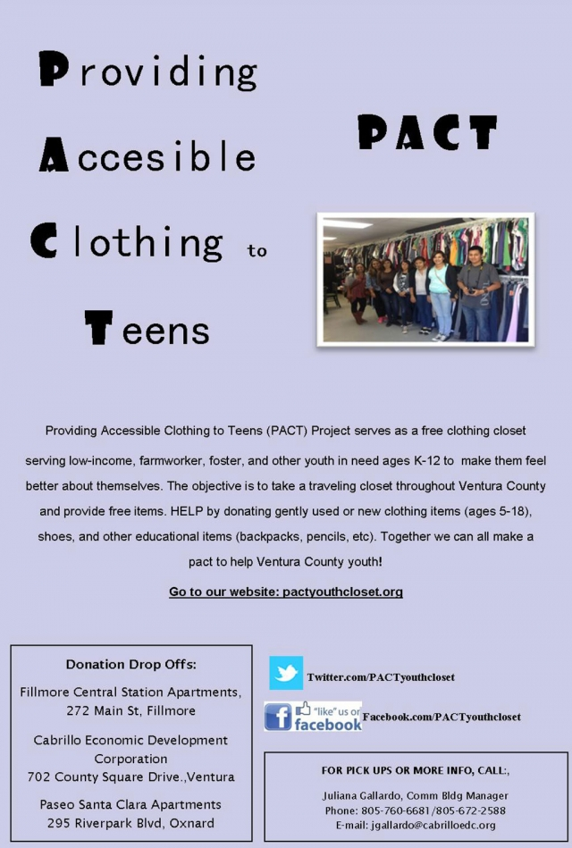PACT Providing Accessible Clothing To Teens Fillmore