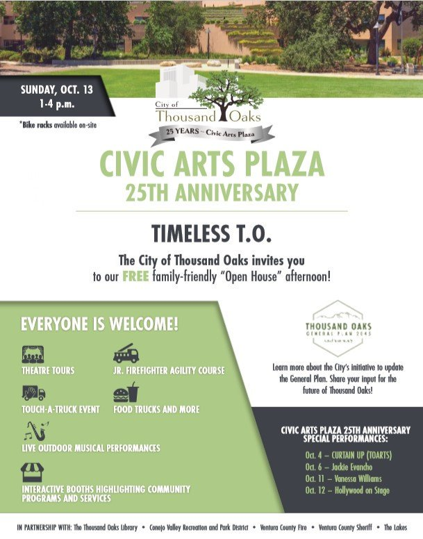 October 13 Civic Arts Plaza 25th Anniversary Open House