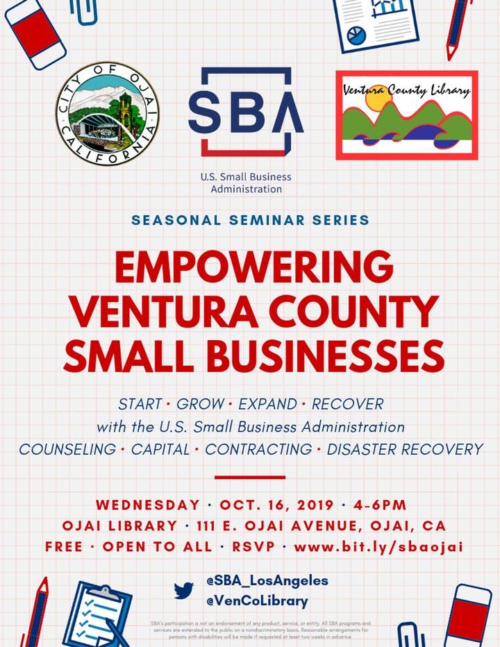 October 16 Empowering Ventura County Small Businesses Ojai