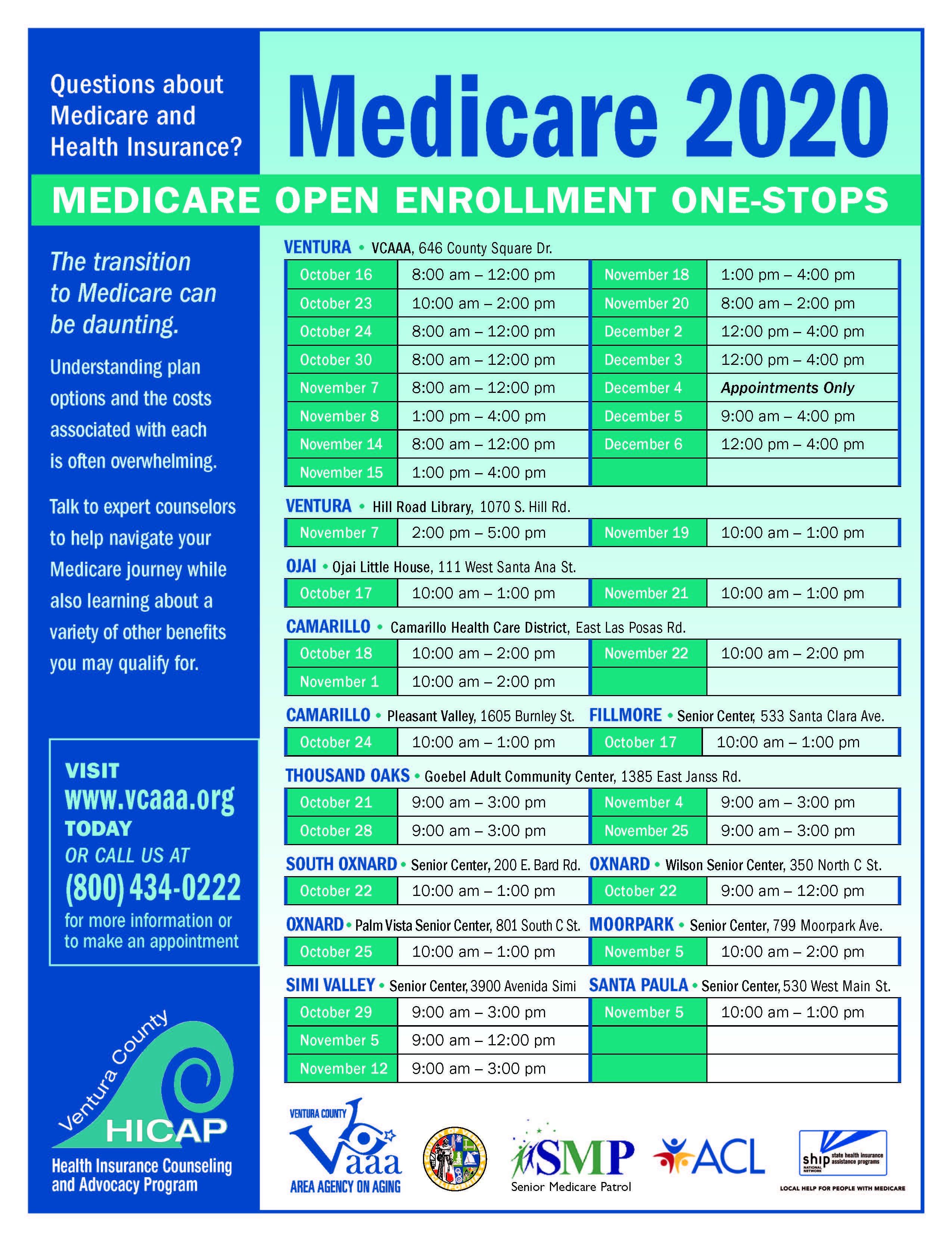 October 16 Thru December 6 Medicare 2020 Open Enrollment VCAAA
