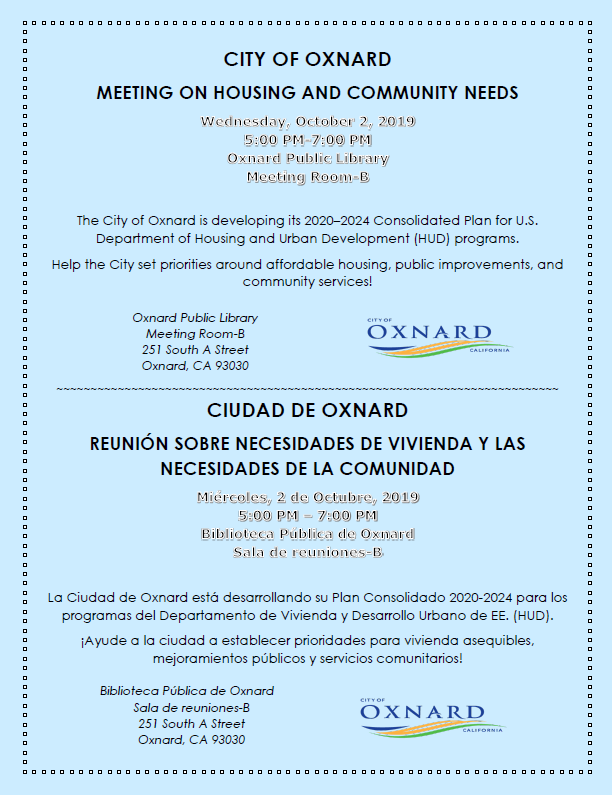 October 2 Oxnard Meeting on Housing And Community Needs