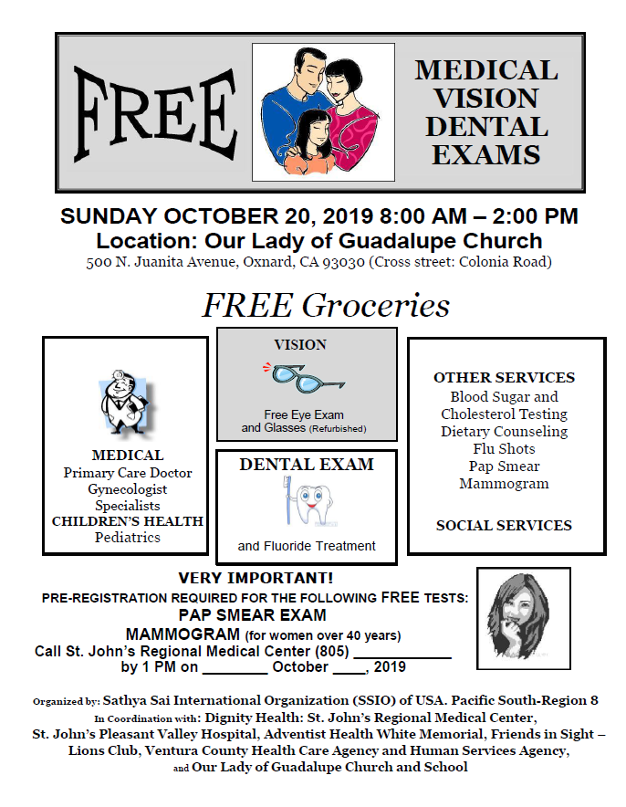 October 20 Free Medical Screening Our Lady Of Guadalupe Oxnard