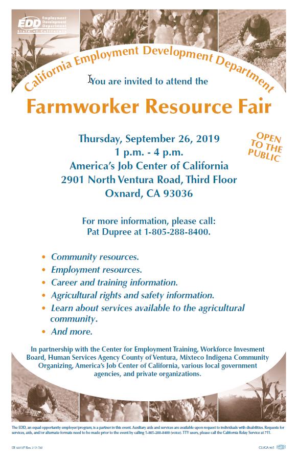 September 26 Farmworker Resource Fair Oxnard