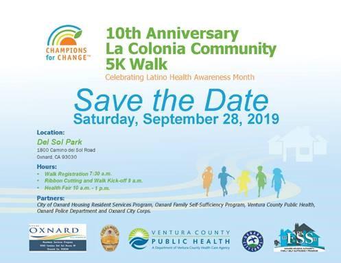 September 28 La Colonia Community 5K Walk