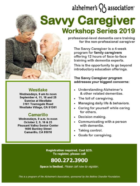 September 4 To October Savvy Caregiver Workshop Series