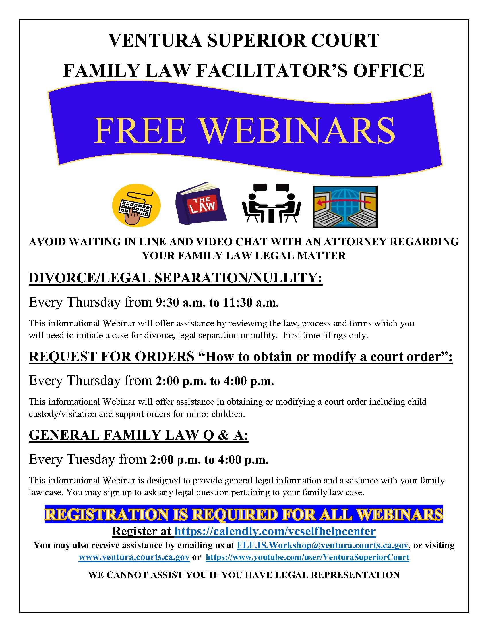 Ventura Superior Court Family Law Facilitators Office Free Webinars