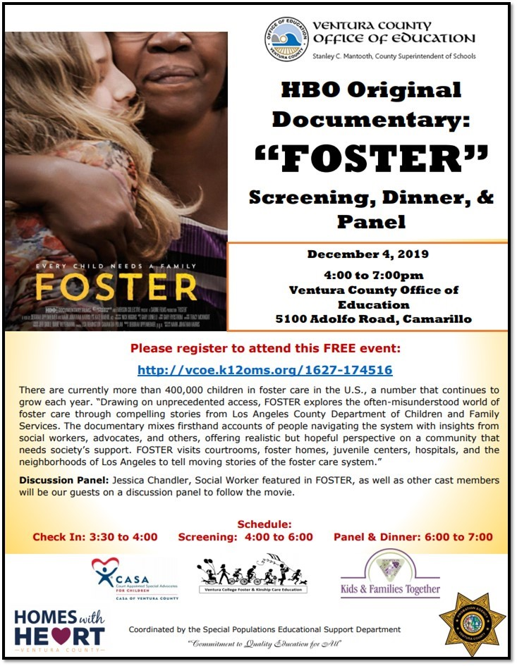 December HBO Original Documentary FOSTER Screening VCOE Camarillo