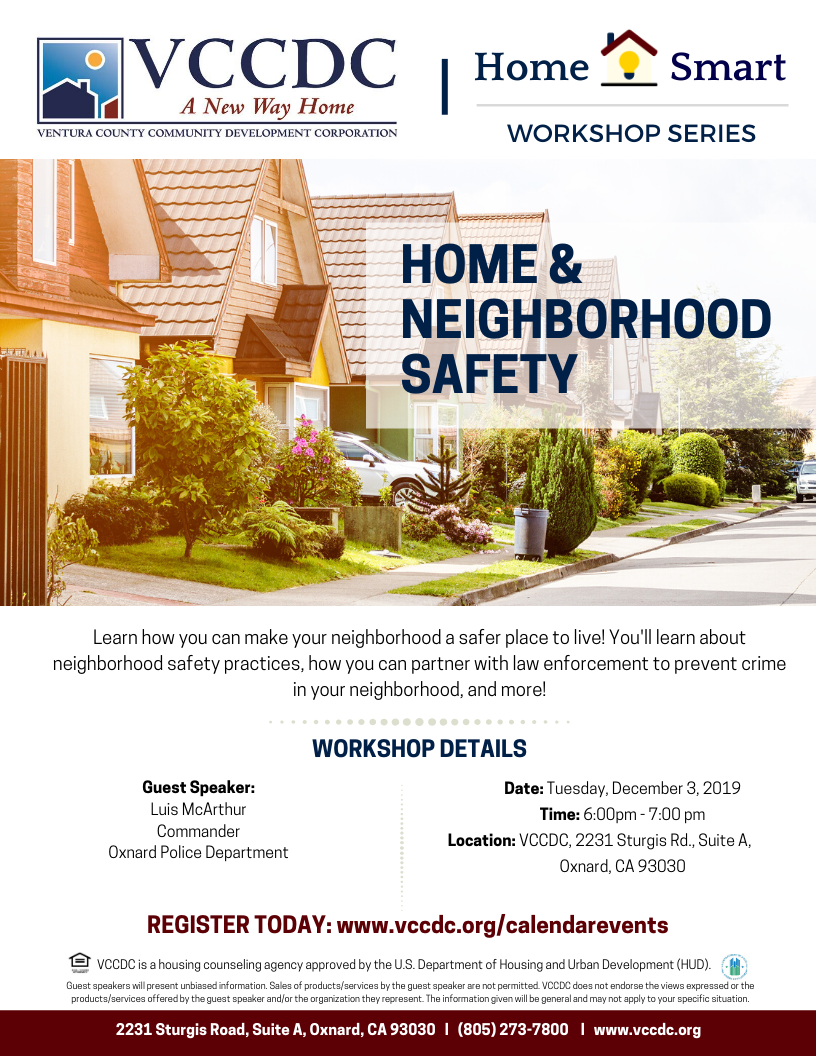 December 3 Home and Neighborhood Safety VCCDC Oxnard