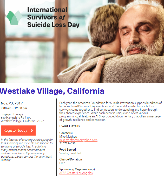 November 23 International Survivors Of Suicide Loss Day Westlake Village