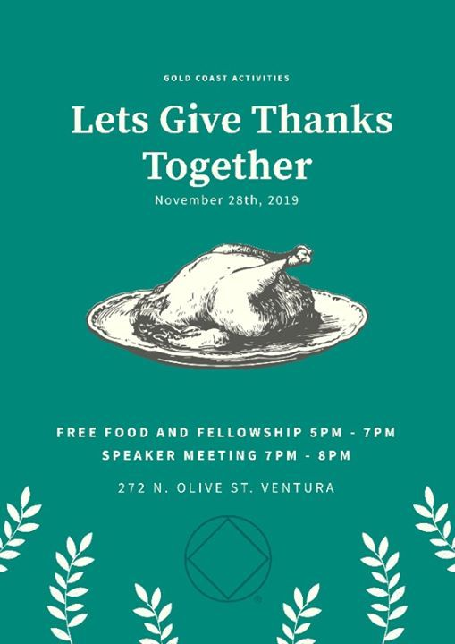 November 28 Give Thanks Together Gold Coast Recovery Ventura