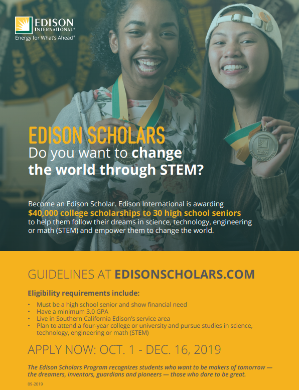 October Thru Dec 16 Edison Scholarships