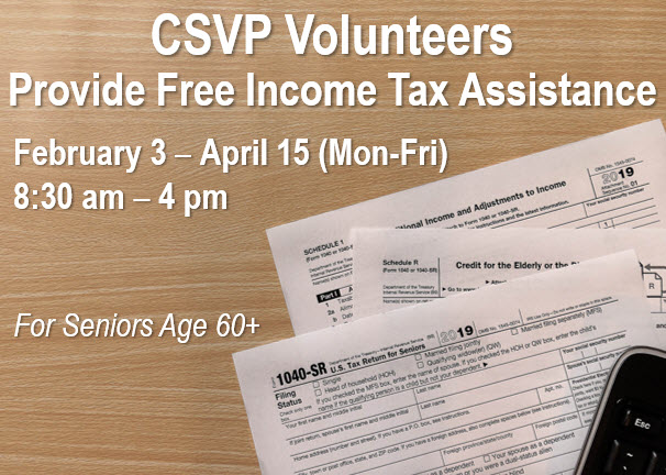 CSVP Volunteers Provide Free Income Tax Assistance