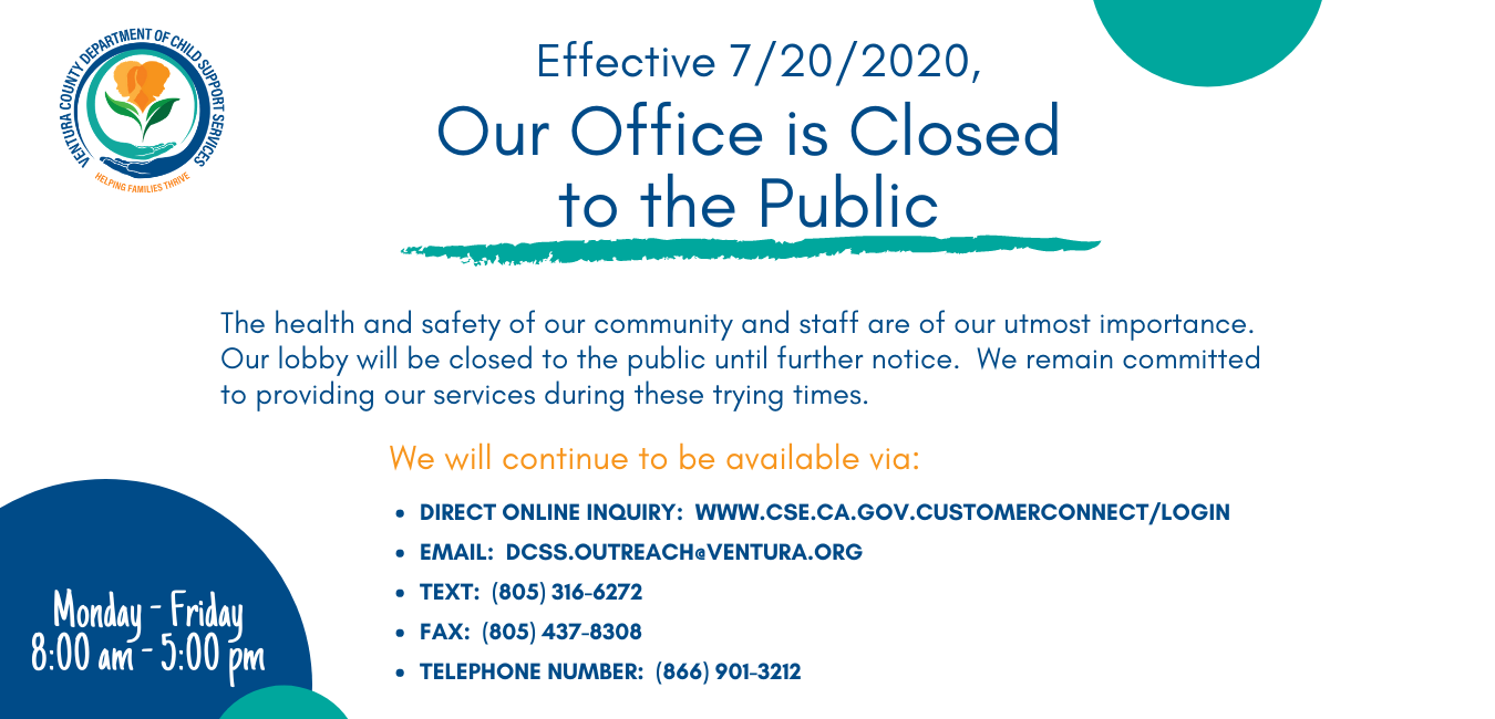 Effective 7/20/2020 Our Office is Closed to the Public